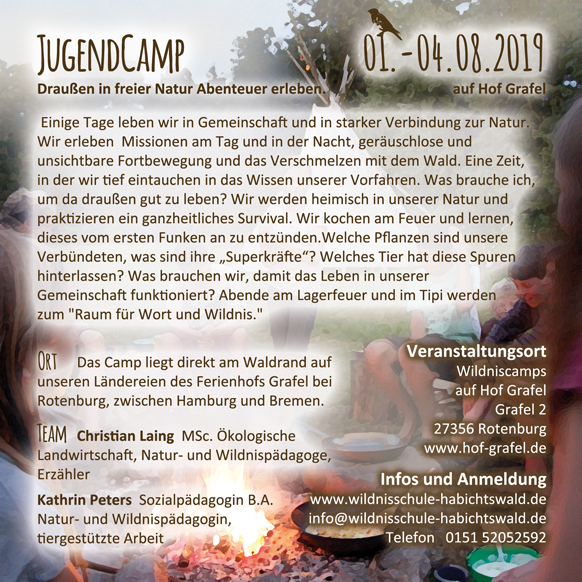 Jugendcamp der Wildnisschule Habichtswald auf Hof Grafel