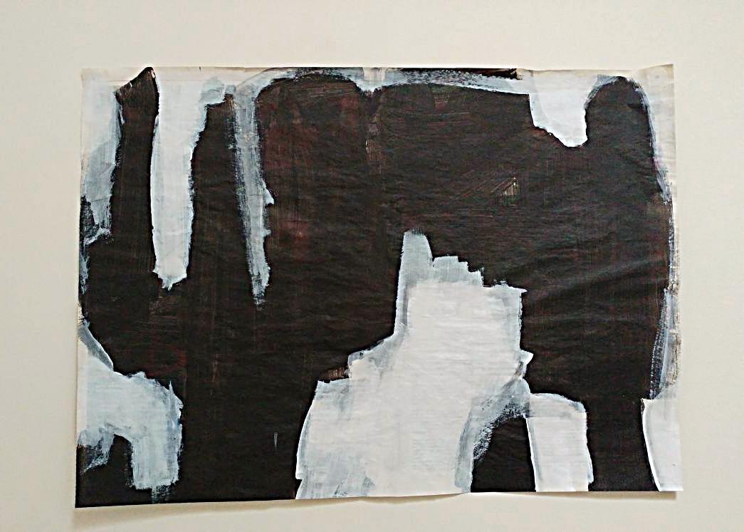 Acryl en Oostindische inkt op krantenpapier 40,5 x 56 cm 2017