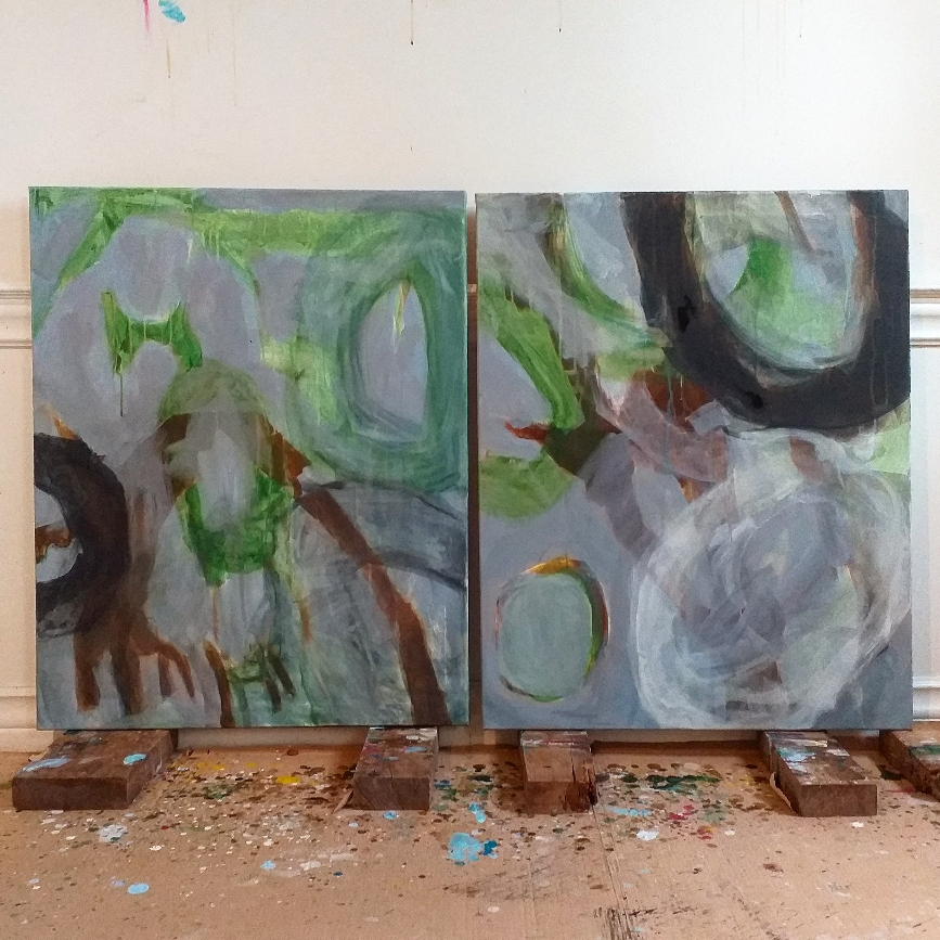 100 X 160 cm acrylic on canvas 2021 'Nature takes its course'  vice versa in the studio