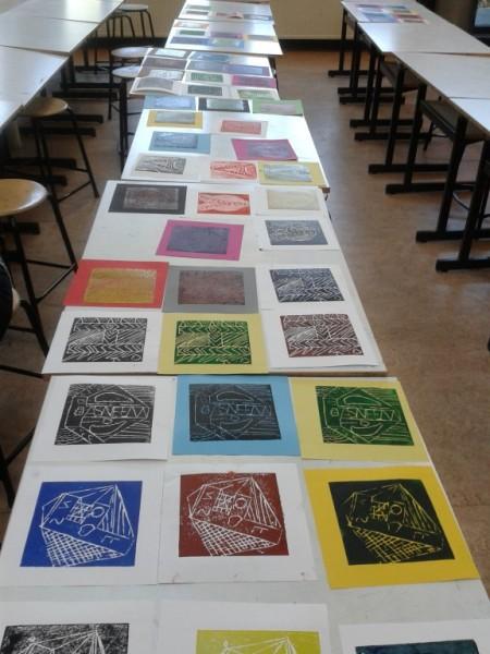 Carmelcollege Emmen Project met de EOA/ISK klas 'Ode aan de lino'  dec. 2016