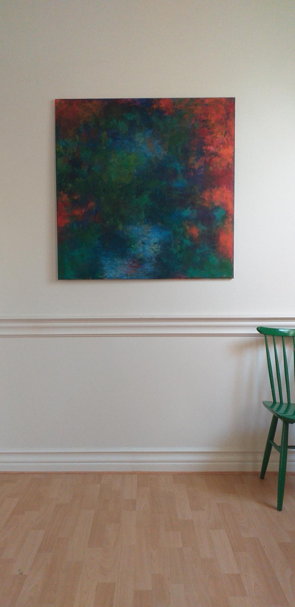 100x100cm acryl op canvas 2020 'Orange, blue and green