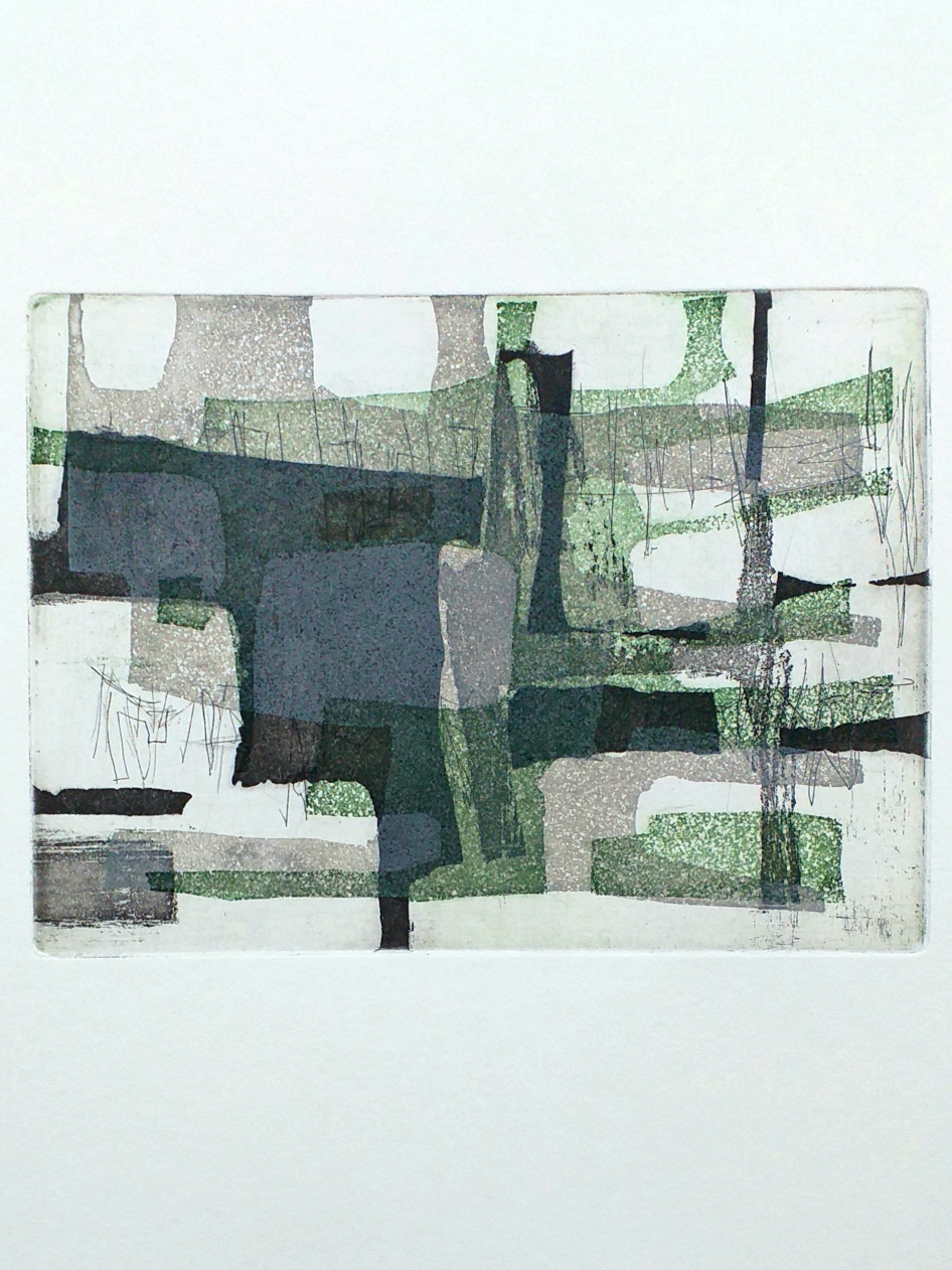 12,5 x 17 cm ets, aquatint 2020 oplage van 7  'Black, Grey and Green'