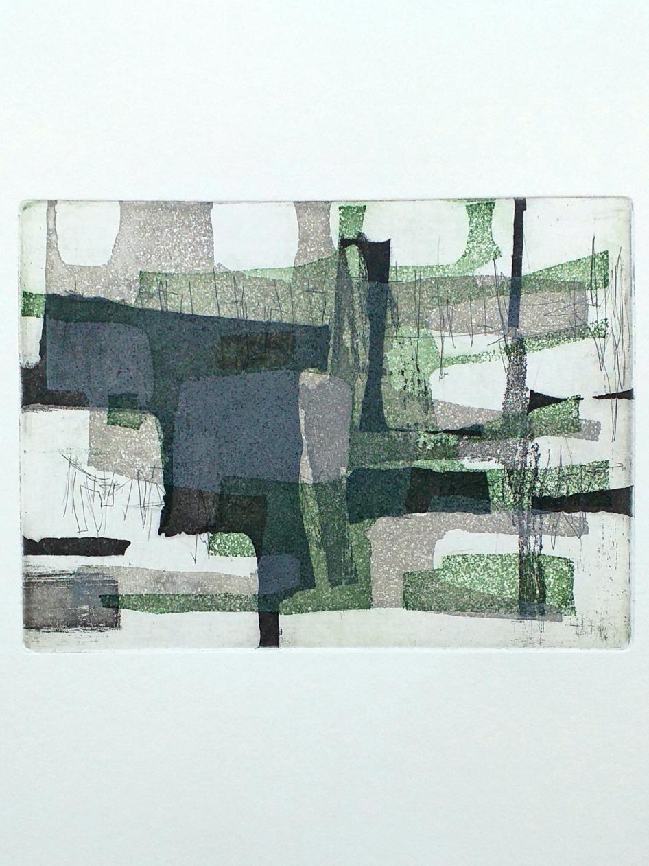 12,5 x 17 cm ets, aquatint 2020 oplage van 7  'Black, Grey and Green'