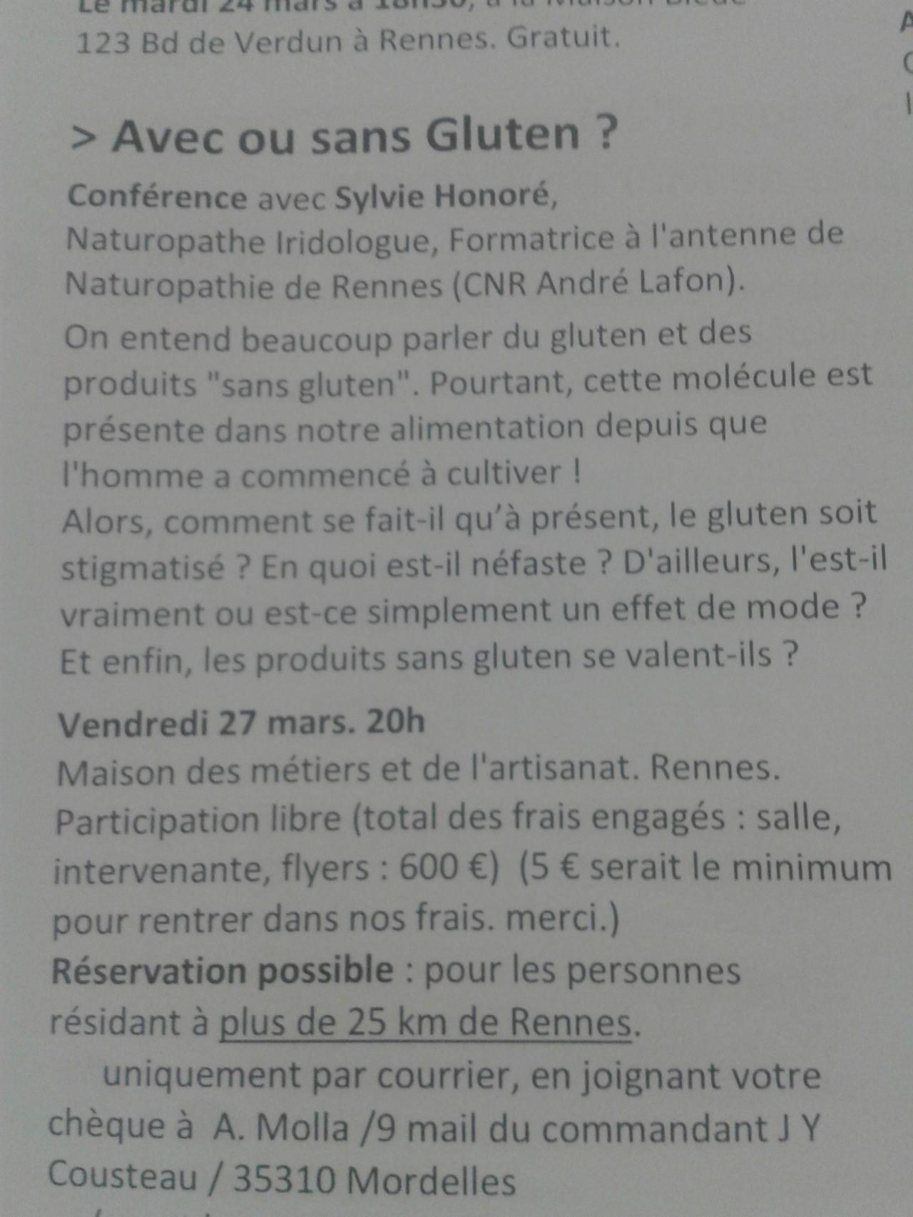 Conférence sur le gluten