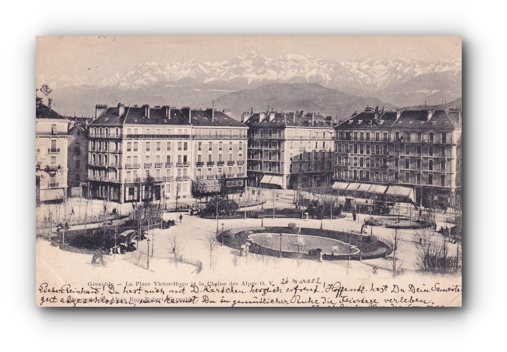 GRENOBLE  - 28.03.1902 - Place Victor Hugo et les Alpes - Der Platz Victor Hugo und die Alpen - Place Victor Hugo and the Alps