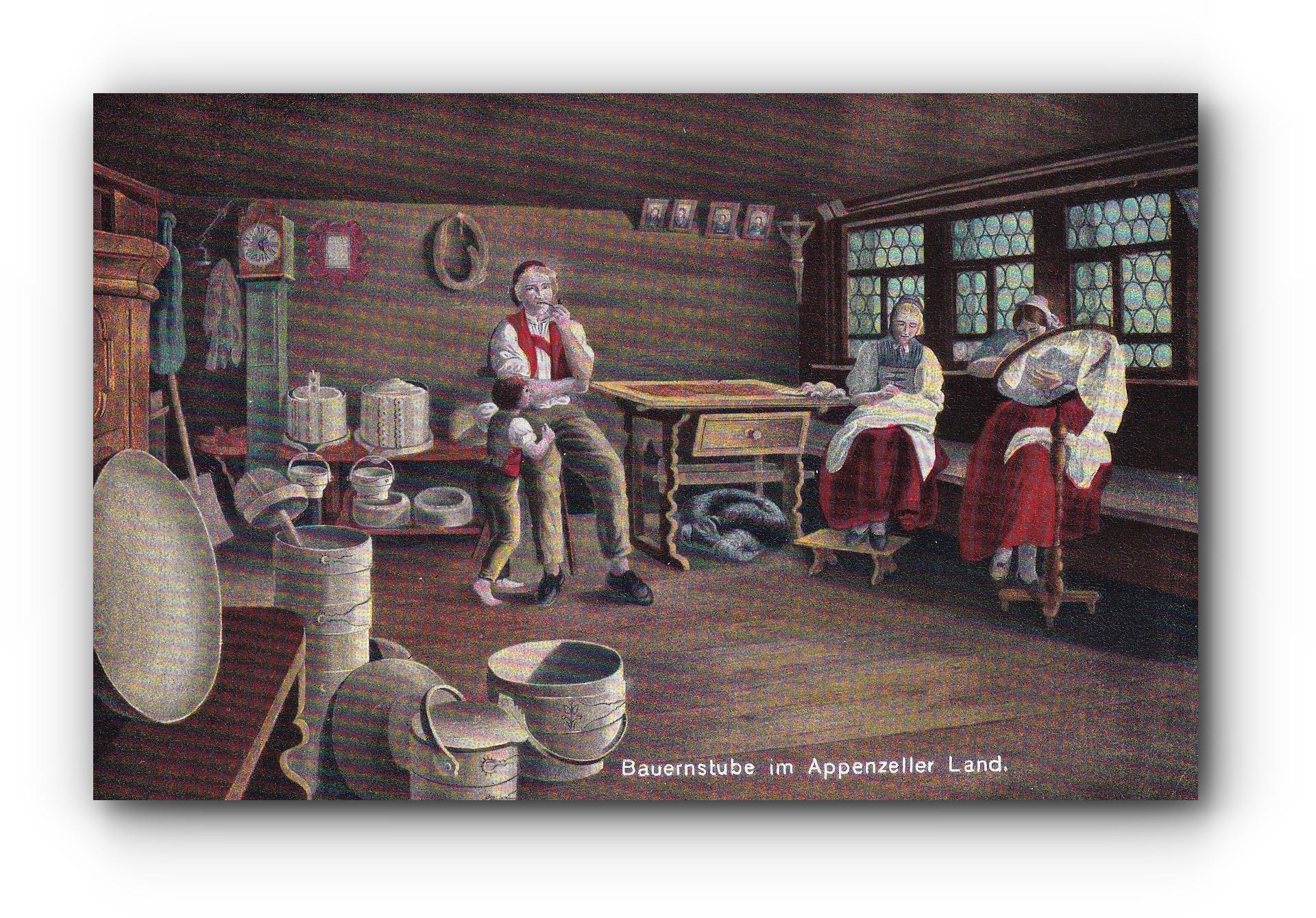 Bauernstube Appenzell - 20.08.1911 - Salle de séjour des fermiers d'Appenzell - Farmhouse parlour Appenzell