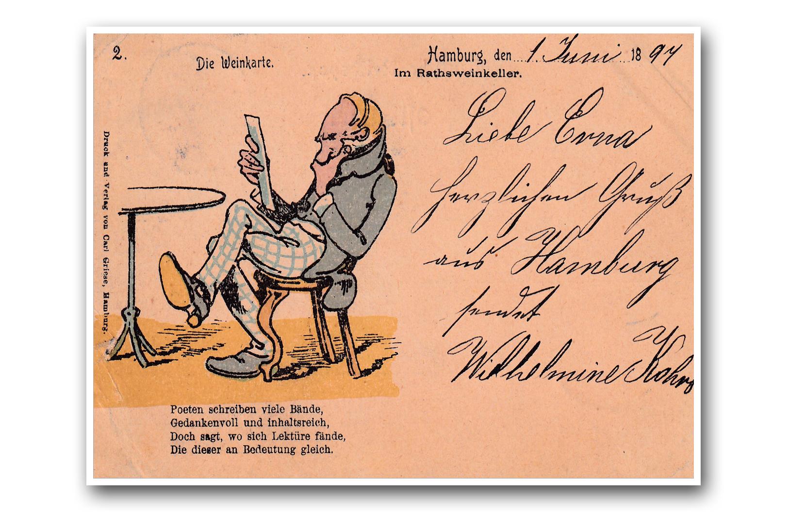Die Weinkarte - 01.06.1897 - La carte des vins - The wine list