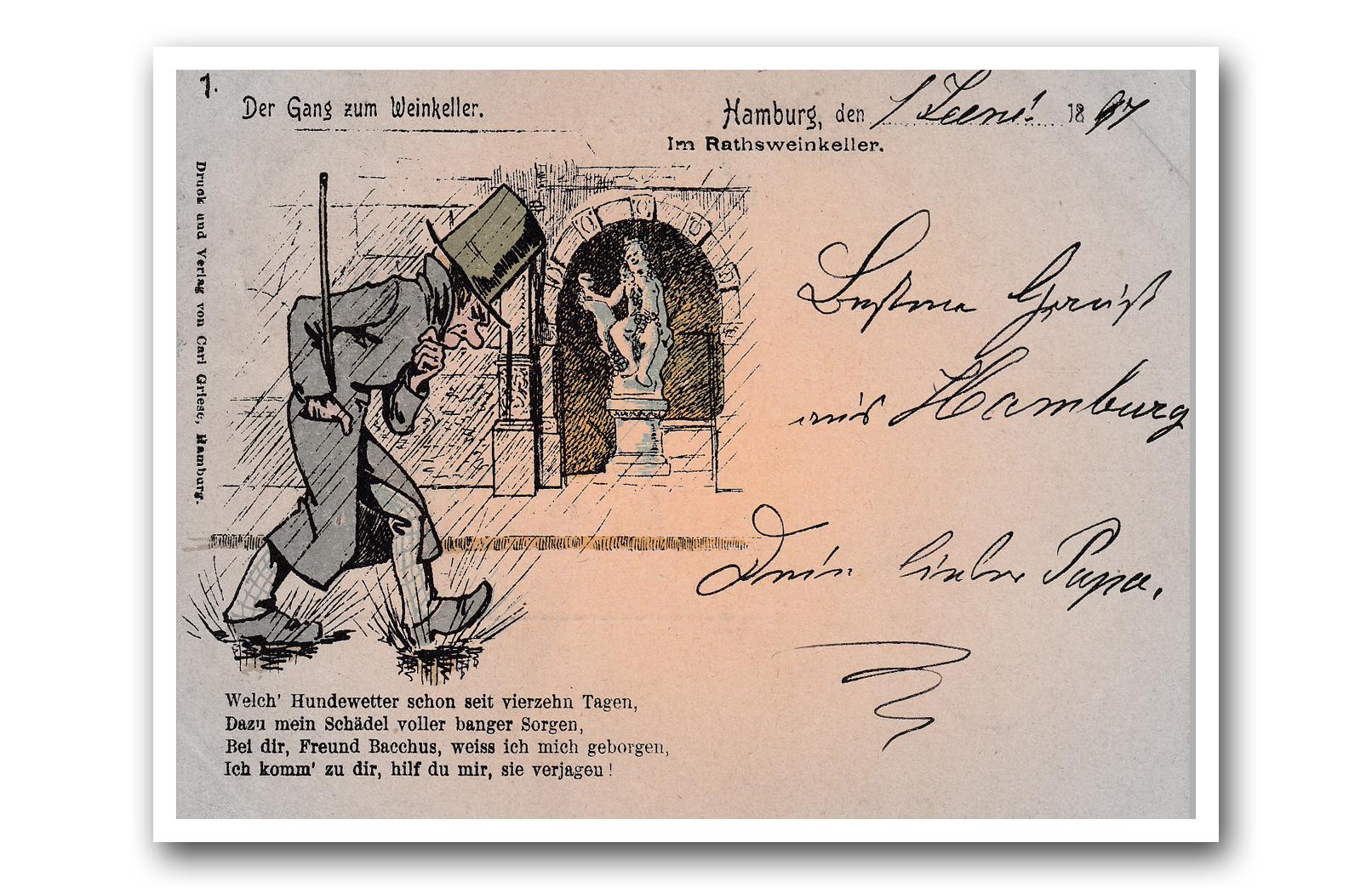 HAMBURG -  02.06.1897 - Der Gang zum Weinkeller - La marche vers la cave à vin - The walk to the wine cellar