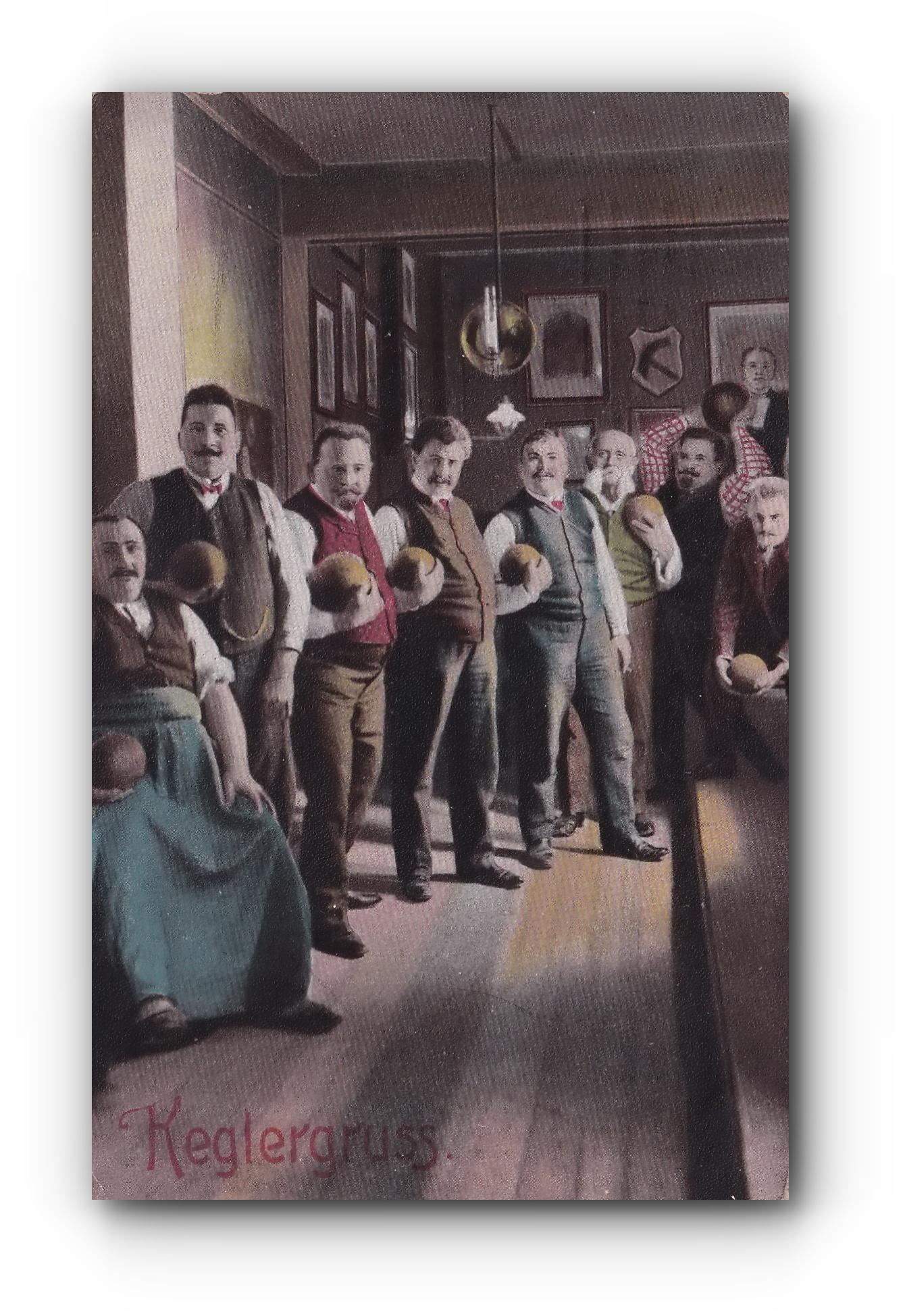 Keglergruß - 24.08.1909 - Sluatations des joueurs de quilles - Bowler's salute