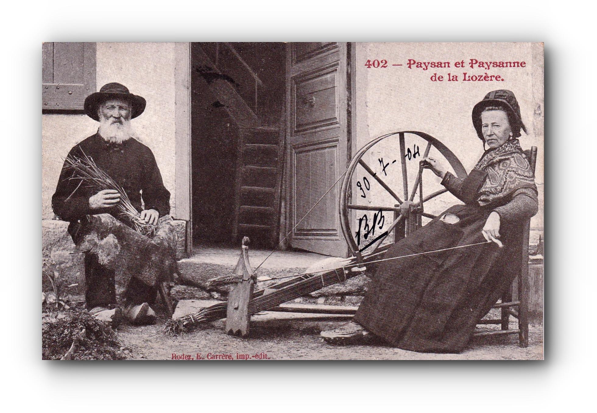 Paysan et Paysanne de la Lozière - 30.07.1904 - Bauer und Bäuerin aus der Lozière - Farmer and farmer's wife from the Lozière