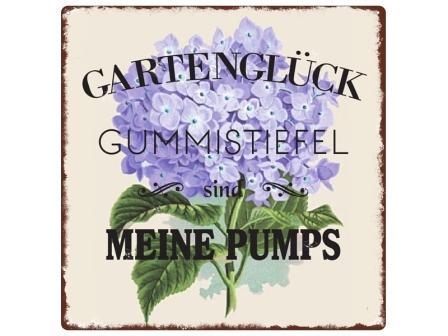 Metallschild-Gummistiefel-Garten
