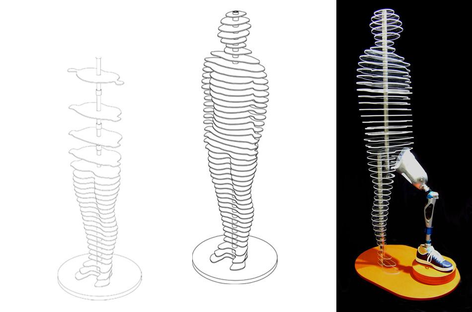 Funktionszeichnung Scheibenfigur; Schebenfigur Otto-Bock-Prothese