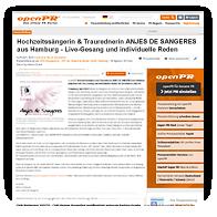 Grafik: Webscreen Open PR - PM von Hochzeitssängerin Anjes de Sangeres, Hamburg