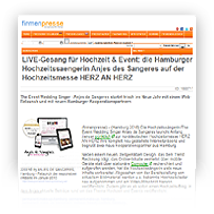 Grafik: Webscreen Firmenpresse - PM von Hochzeitssängerin Anjes de Sangeres, Hamburg