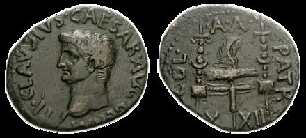 Monnaie de l'Empereur CLAUDE frappée à Patras où avaient été établis les vétérans et portant au revers les légions X et XII