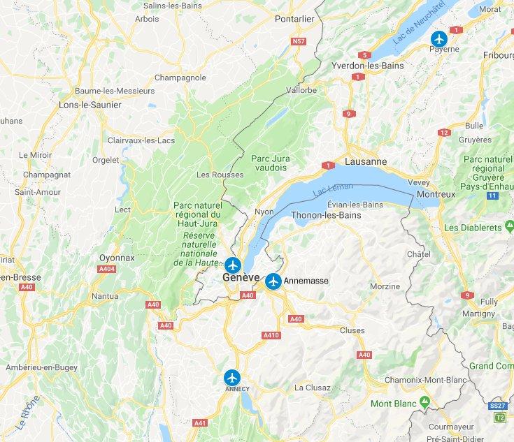 Aéroports de Genève : Genève, Annemasse, Annecy et Payerne