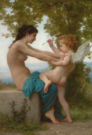 Jeune femme se défendant contre L'Amour
