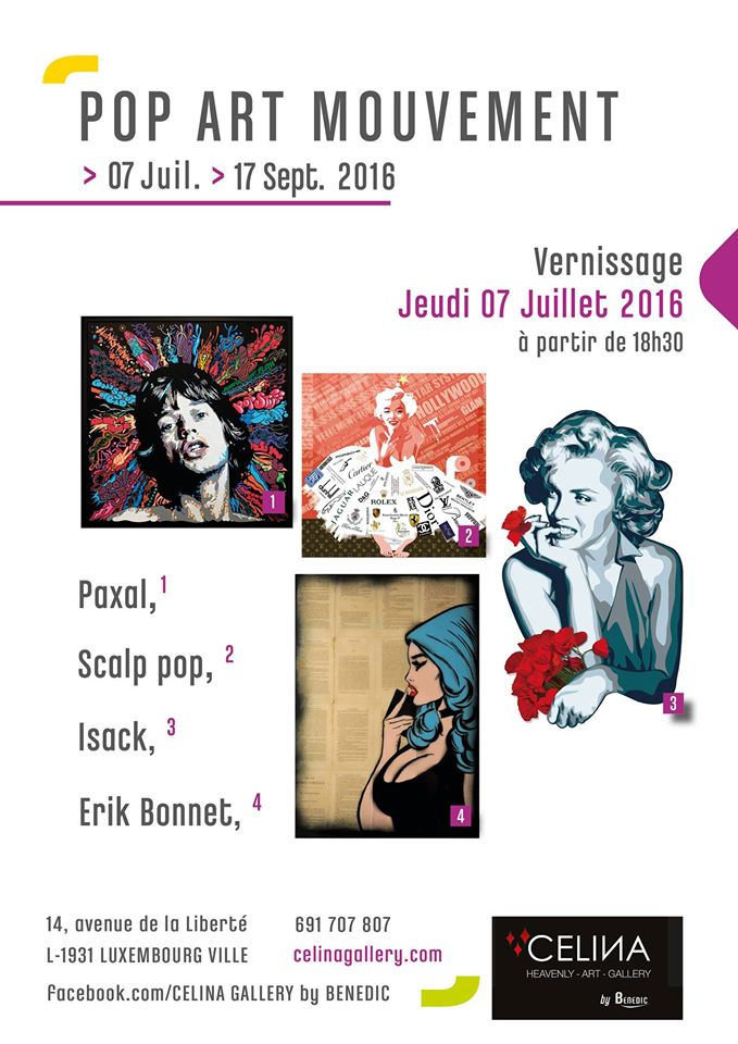 "affiche ""pop art mouvement"" célina gallery / luxembourg"