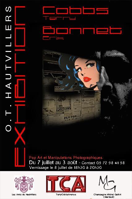 """affiche """"exhibition"""" Hautvillers en chanpagne"""