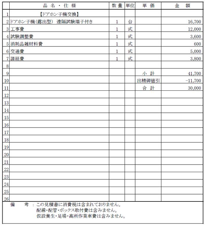 インターホン交換工事の見積り【マンション|新潟市中央区】