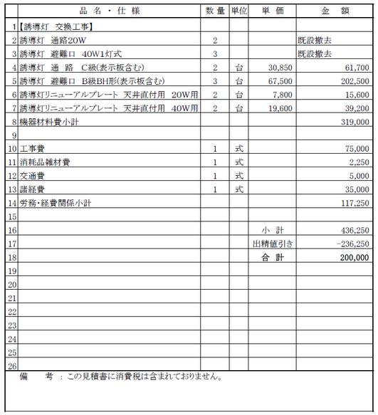 避難誘導灯(LEDタイプ)交換工事の見積書【新潟市中央区|寺院】