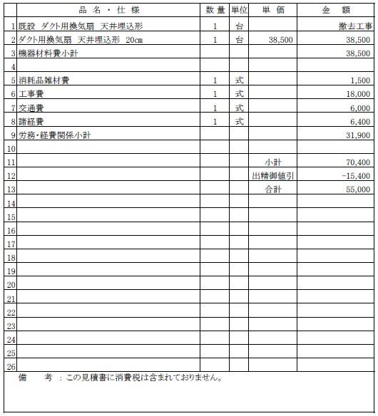 トイレ換気扇交換工事の見積書【新潟市中央区|テナントビル】