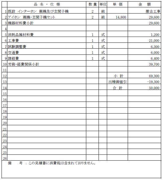 アパート用インターホン交換工事の見積書【新潟市中央区】
