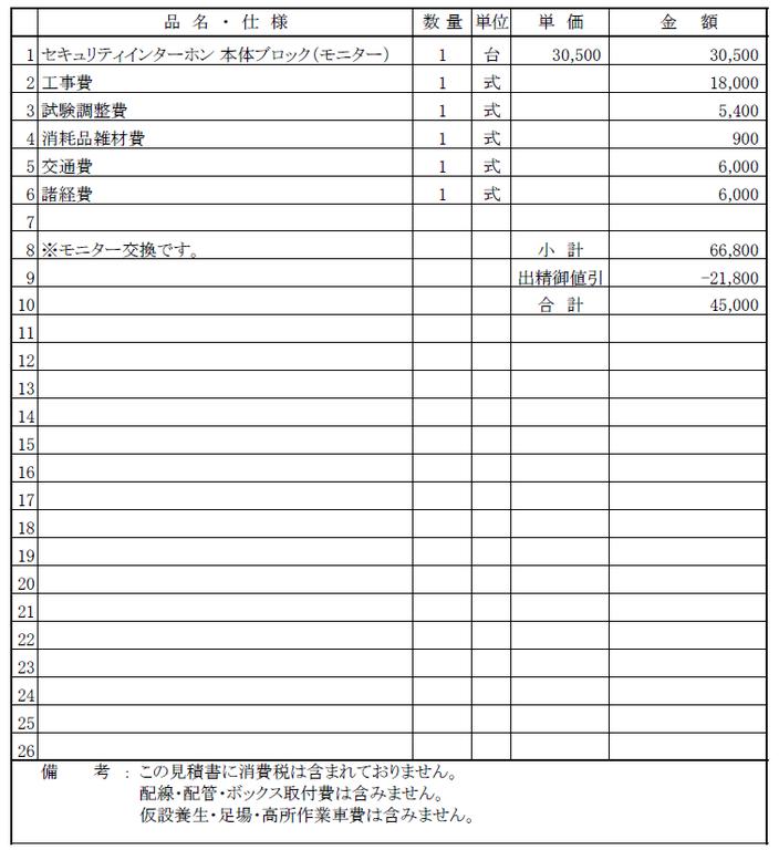 インターホン交換工事の見積書【新潟市中央区|マンション】