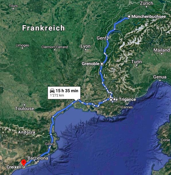 Route Schweiz - Verdon - Spanien. Quelle: Google Maps