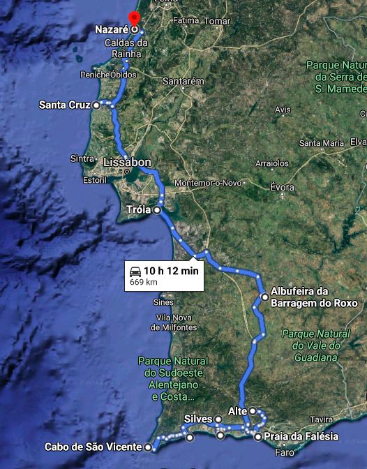 Gefahrene Strecke 1. Teil Portugal. Quelle: Google Maps