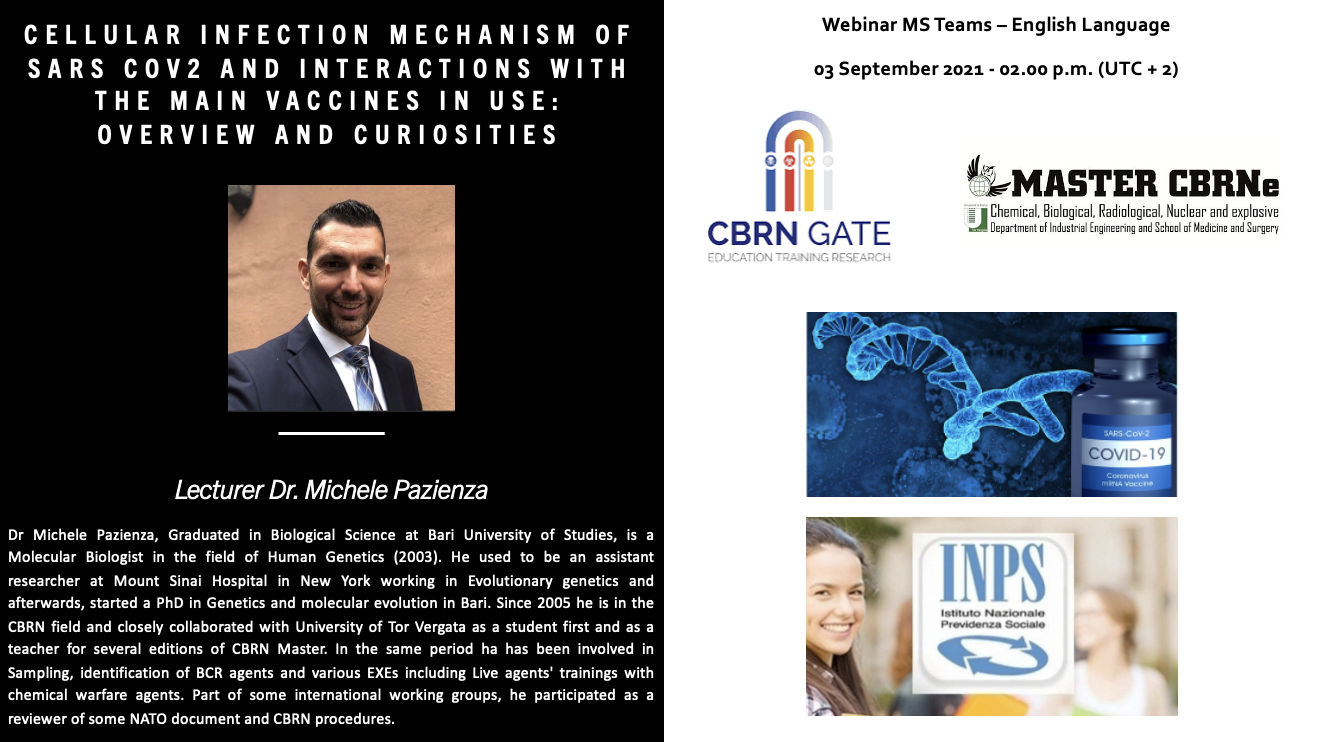 WEBINAR : Cellular infection mechanism of SARS Cov2 and interactions with the main vaccines in use: Overview and curiosities