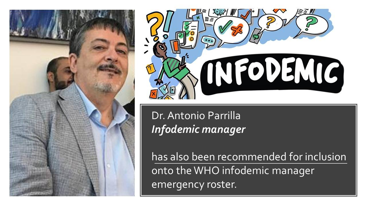 Dr. Antonio Parrilla selected by the World Health Organization to participate in the First WHO Infodemic manager training