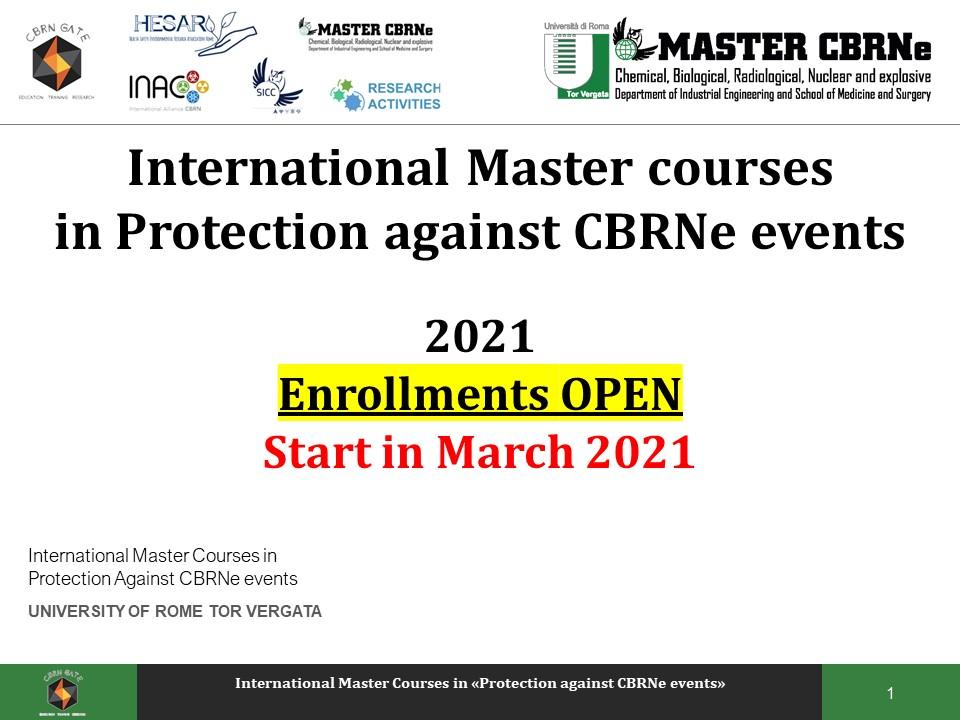 2021 - CBRNe Master courses - Enrollments open