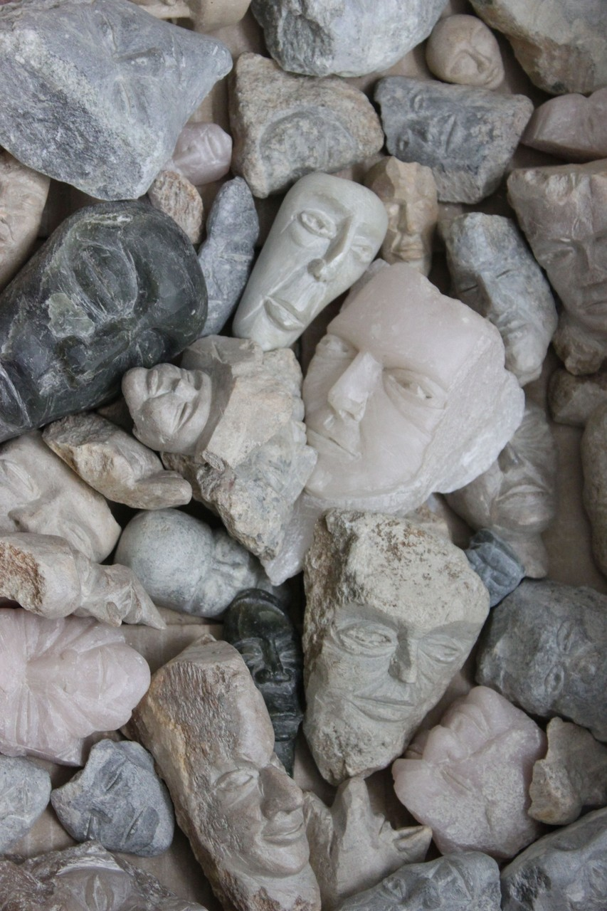 face/ carved soapstones 8- 12 cm