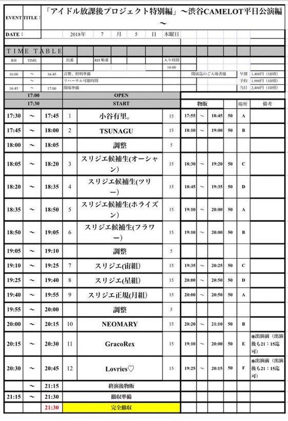 2018年7月5日(木)渋谷CAMELOT B2