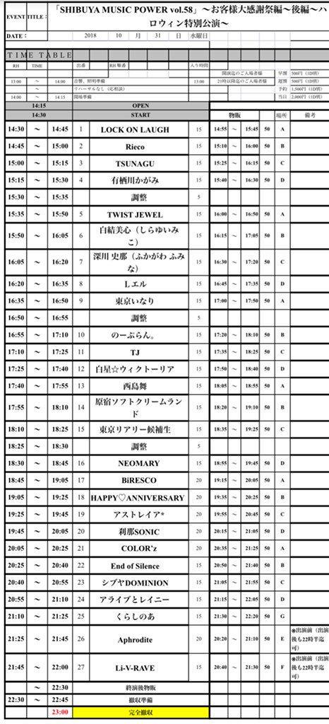 2018年10月31日(水)渋谷DESEO