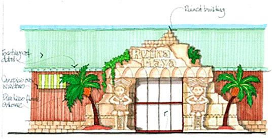 Ontwerptekening Hoofdingang 'Ruina Maya' (2014)
