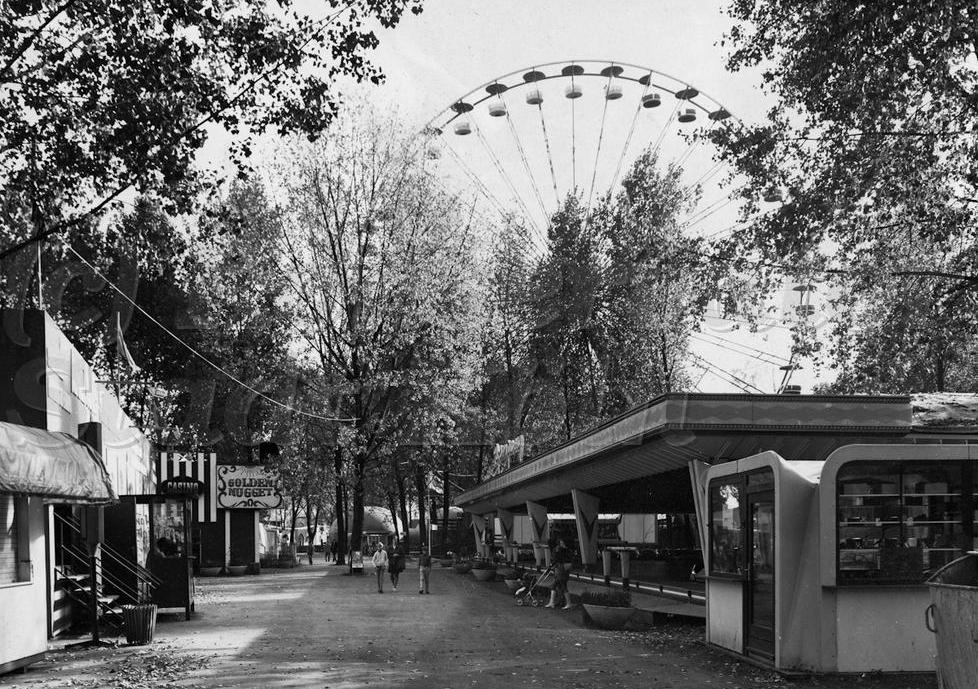 Jaren '70, Kölner Tivoli: Op de achtergrond het reuzenrad. Bron: Sammlung Jürgen Nießen
