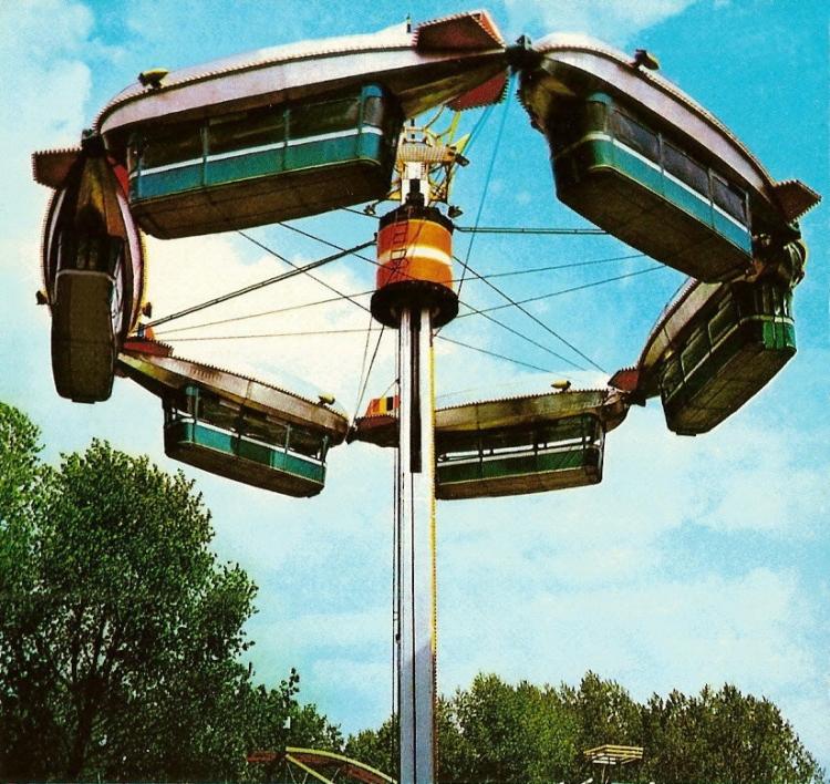 Jaren '70, Kölner Tivoli: De Zeppelin I, welke rond 1975 werd overgenomen door Henk Bemboom en vanaf 1975 als nieuwe attractie werd gepresenteerd in 'Ponypark Slagharen'. Bron: Sammlung Jürgen Nießen
