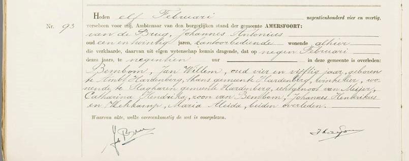 Inschrijving van het overlijden van Henk Bemboom's vader, Jan Willem Bembom te Amersfoort (11-02-1944)
