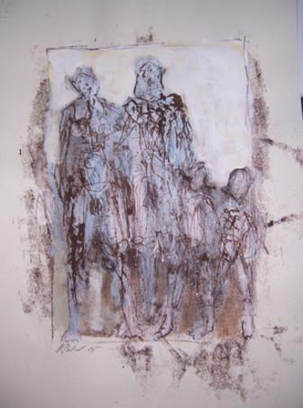 Familienbande | Mischtechnik auf Papier | 100 x 70 cm