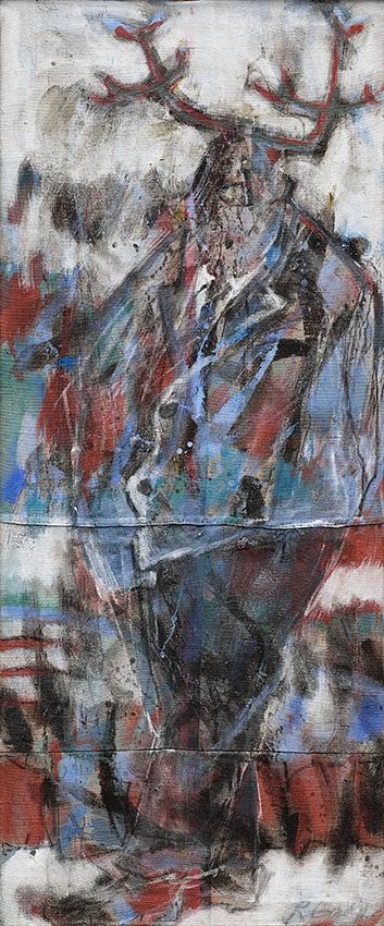 Gehörnter/Acryl auf Leinwand/ 120 x 60 cm