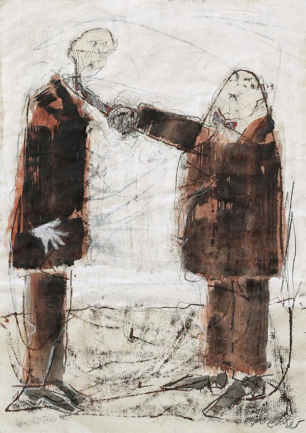 Schlawittel, Monotypie überarbeitet, 70 x 50 cm