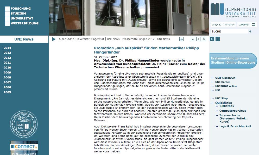 Universität Klagenfurt Website
