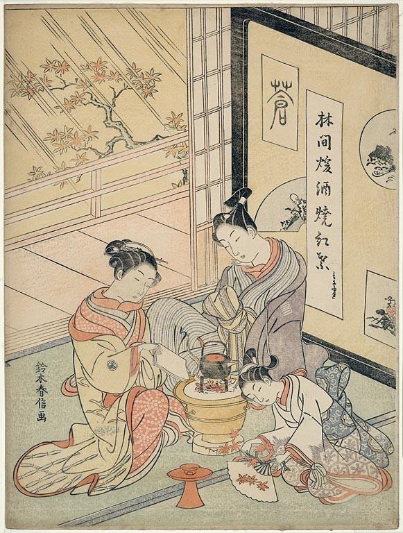 Verbrennen von Ahornblättern zum Wärmen von Sake