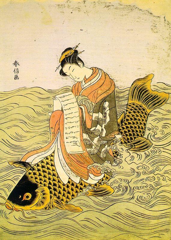 Frau reitet lesend auf Riesenfisch