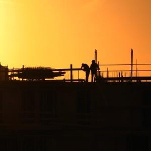 Ein Einfamilienhaus wird gebaut