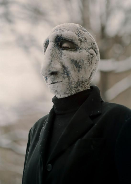 """genähte Maske - Der Taubstumme Redner aus """"Die Stühle"""" von Ionesco"""
