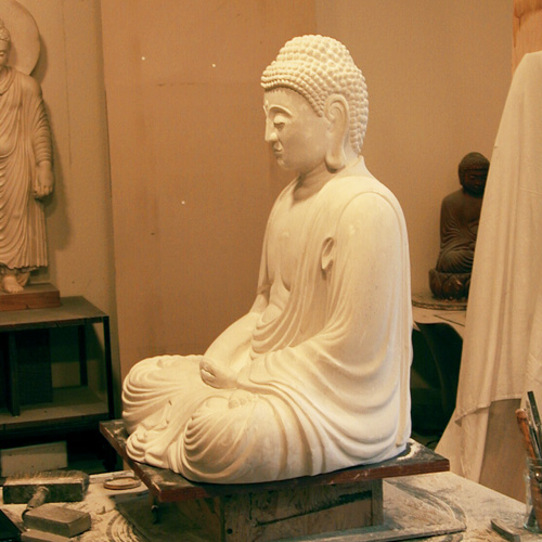 Dhyana Buddha at the studio for Buddhist sculptures
