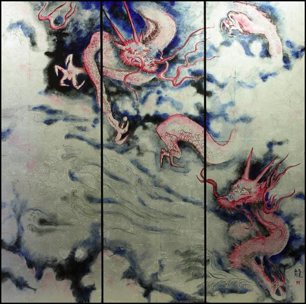 Blattgoldbild: Drachen